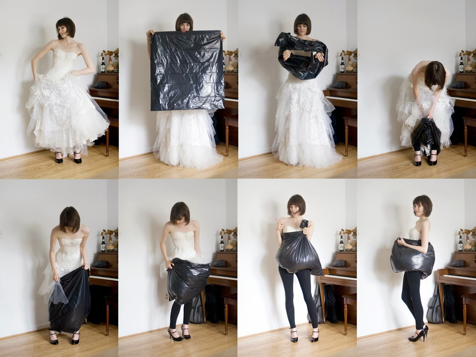 pisilés menyasszonyi ruhában